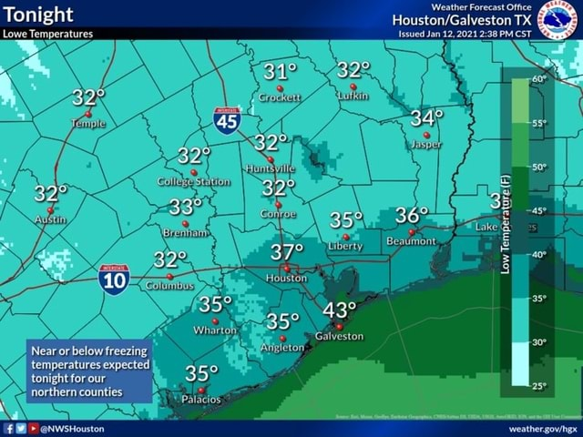 Tonight Lowe Temperatures Near or below freezing temperatures expected tonight for our northern counties NWsHouston 32 10 scomt Coles eStution Whartoh, Palacios Weather Forecast Office TX Issued Jan 12, 2021 PM CST 45 325 croeket CORKTA Low Temperature F F IBesuriont Houston take Galveston igleton meme