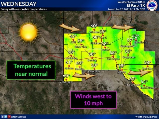 WEDNESDAY Sunny with seasonable temperatures Temperatures near normal Weather Forecast Office El Paso, TX Issued Jan 12, 2021 PM MST weather memes