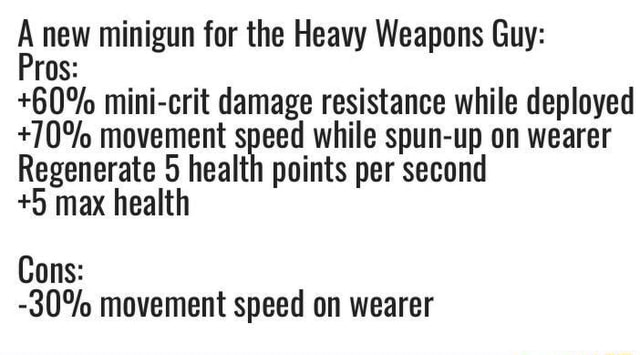 A new minigun for the Heavy Weapons Guy 60% mini crit damage resistance while deployed 70% movement Regenerate Speed while spun up per second on wearer Regenerate 5 health points per second 5 max health Cons  30% movement speed on wearer memes