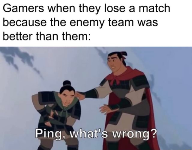 Gamers when they lose a match because the enemy team was better than them ry Ping. what's wrong memes