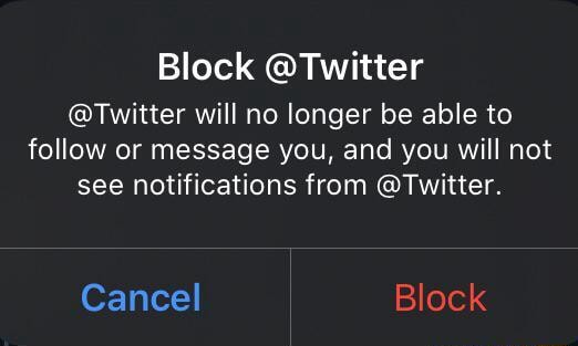 Block Twitter Twitter will no longer be able to follow or message you, and you will not see notifications from Twitter. Cancel Block memes