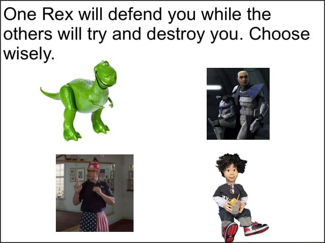 One Rex will defend you while the others will try and destroy you. Choose wisely memes
