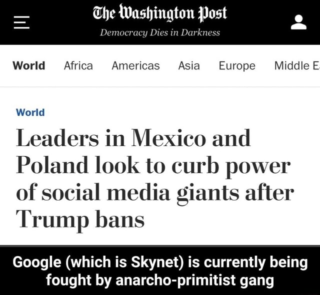The Washington Post Democracy Dies in Darkness World Africa Americas Asia Europe Middle E World Leaders in Mexico and Poland look to curb power of social media giants after Trump bans Google which is Skynet is currently being fought by anarcho primitist gang  Google which is Skynet is currently being fought by anarcho primitist gang memes