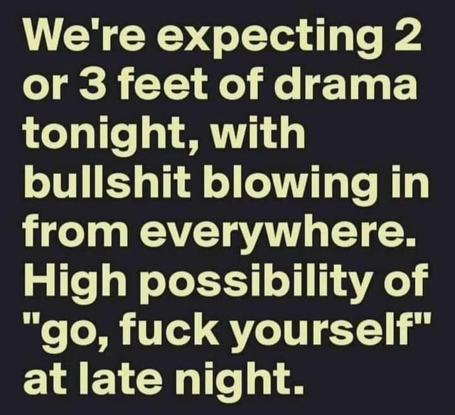 We're expecting 2 or 3 feet of drama tonight, with bullshit blowing in from everywhere. High possibility of go, fuck yourself at late night memes