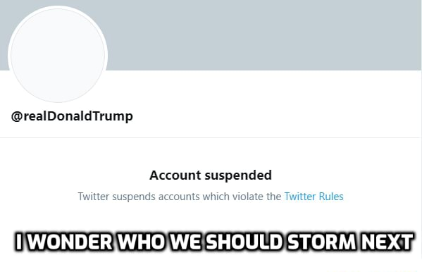 Twitter censorship be like realDonaldTrump Account suspended Twitter suspends accounts which violate the Twitter Rules LWONDER WHO WE SHOULD STORM NEXT, memes