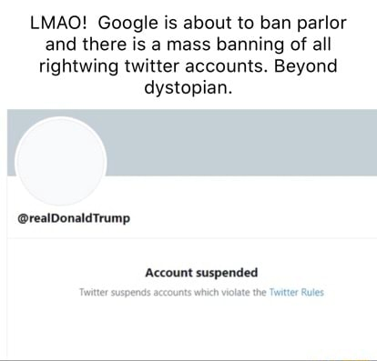 LMAO Google is about to ban parlor and there is a mass banning of all rightwing twitter accounts. Beyond dystopian. realDonaldtrump Account suspended meme
