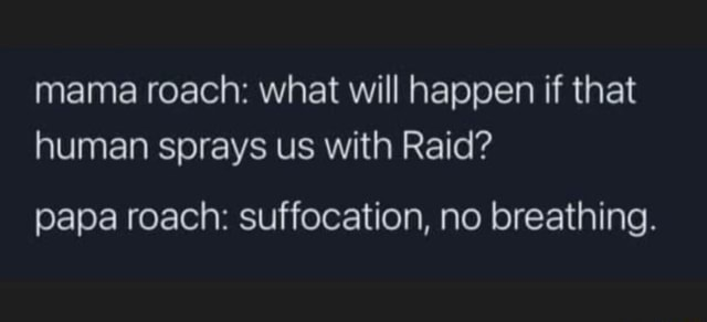 Mama roach what will happen if that human sprays us with Raid papa roach suffocation, no breathing memes