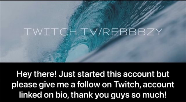 Hey there Just started this account but please give me a follow on Twitch, account linked on bio, thank you guys so much memes