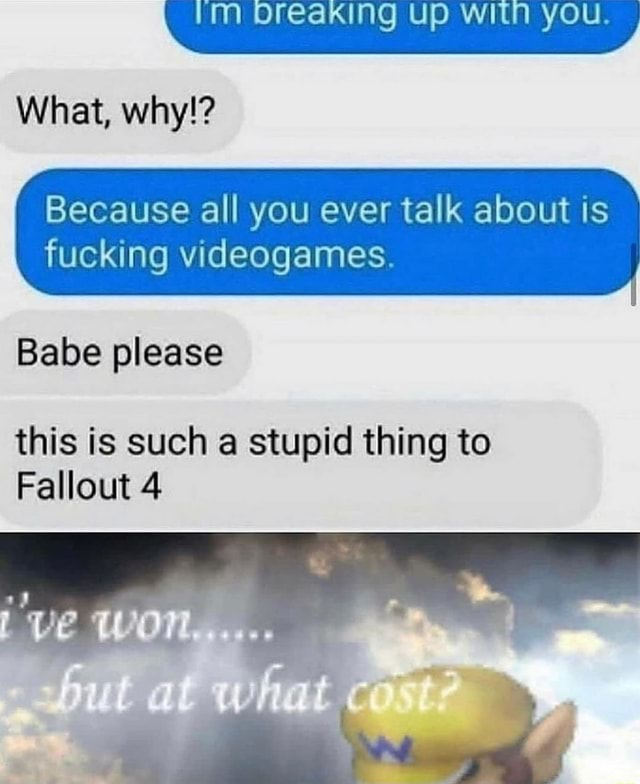 Breaking Up WIN YOU What, why  Because all you ever talk about is fucking games. Babe please this is such a stupid thing to Fallout 4 meme