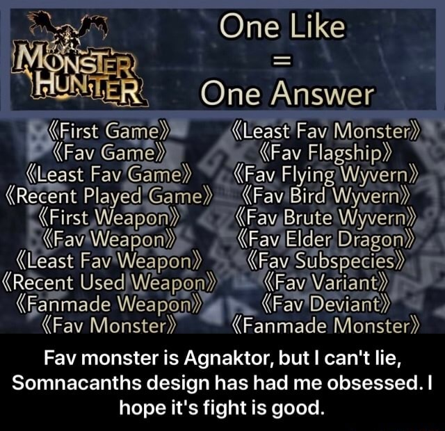 One Like NNSTER One  Answer UNTER. One Answer Fav Game  Fav Flagship  Least Fav'Game  Fay, Flying Wyvern  Recent Played Game  FaviBird Wyvern  First Weapon  FayBrute Wyvern  FaviWeapon  Elder Dragon  least Fav Weapon Fay Subspecies {Recent fanmade Weapon  Fay Deviant  Fav Monster  Fanmade Monster Fav monster is Agnaktor, but can not lie, Somnacanths design has had me obsessed. hope it's fight is good.  Fav monster is Agnaktor, but I can not lie, Somnacanths design has had me obsessed. I hope it's fight is good memes