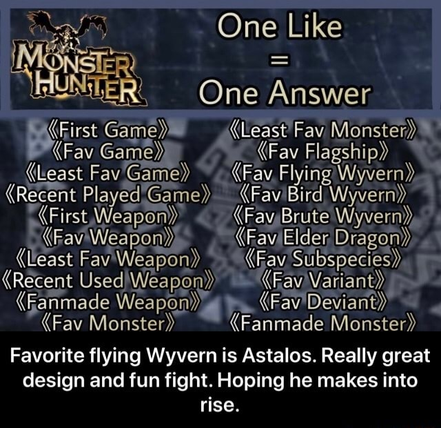 One Like One Answer least Fay Fav Flagship  Least FavGame Ray Flying Wyvern , Recent Played Game} Wyvern  First, Elder Least Fav Weapon  Fay Subspecies  Recent Used Fav Weapon  Fay Deviant  Fav Monster  Fanmade Monster Favorite flying Wyvern is Astalos. Really great design and fun fight. Hoping he makes into rise.  Favorite flying Wyvern is Astalos. Really great design and fun fight. Hoping he makes into rise memes