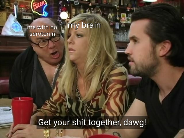 Me with no my brain serotonin Get your shit together, dawg memes