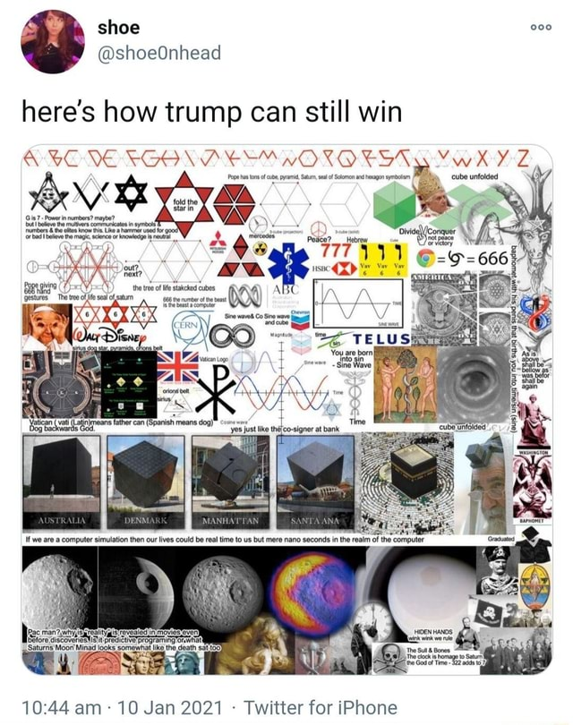 Here's how trump can still win RE Pope has tons of cube, pyramid, Satur, seal of Solomon and hexagon symbolism cube unfolded oF ww APHOMET am  10 Jan 2021  Twitter for iPhone memes