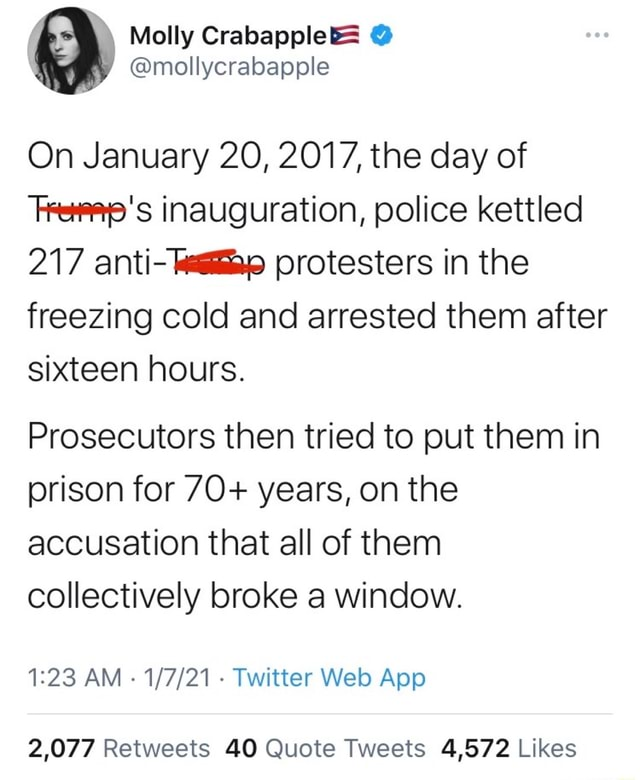 Mollycrabapple On January 20, 2017, the day of Fee's inauguration, police kettled 217 anti protesters in the freezing cold and arrested them after sixteen hours. Prosecutors then tried to put them in prison for 70 years, on the accusation that all of them collectively broke a window. AM Twitter meme