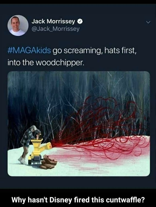 Jack Morrissey  Ar go screaming, hats first, into the woodchipper. Why hasn't Disney fired this cuntwaffle  Why hasn't Disney fired this cuntwaffle memes