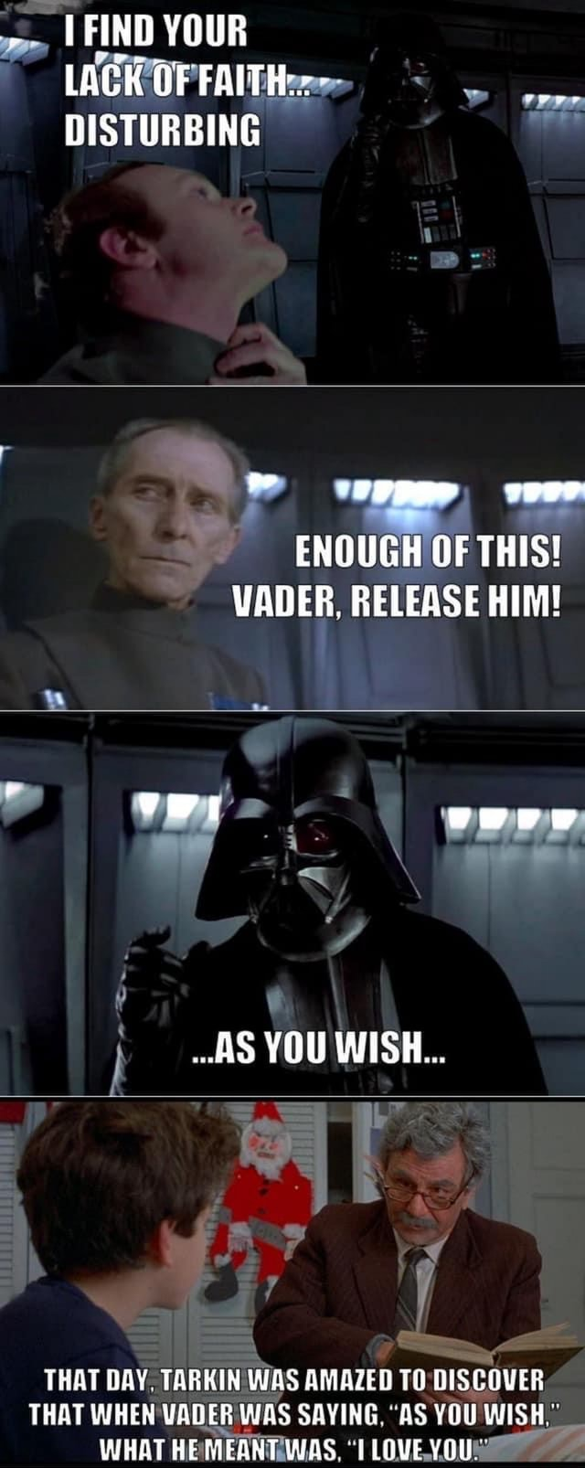 FIND YOUR LACK OF FAITH  DISTURBING ENOUGH OF THIS VADER, RELEASE HIM AS YOU WISH THAT DAY. TARKIN WAS AMAZED TO OISCOVER THAT WHEN UATER WAS SAYING AS YOU WISH WHAT HE MEANT WAS TLOVE YOU memes