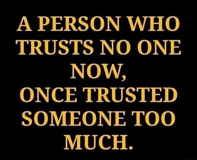 A PERSON WHO TRUSTS NO ONE NOW, ONCE TRUSTED SOMEONE TOO MUCH memes