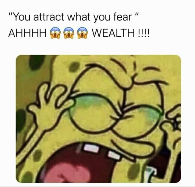 I also fear attractive women You attract what you fear AHHHH  WEALTH memes
