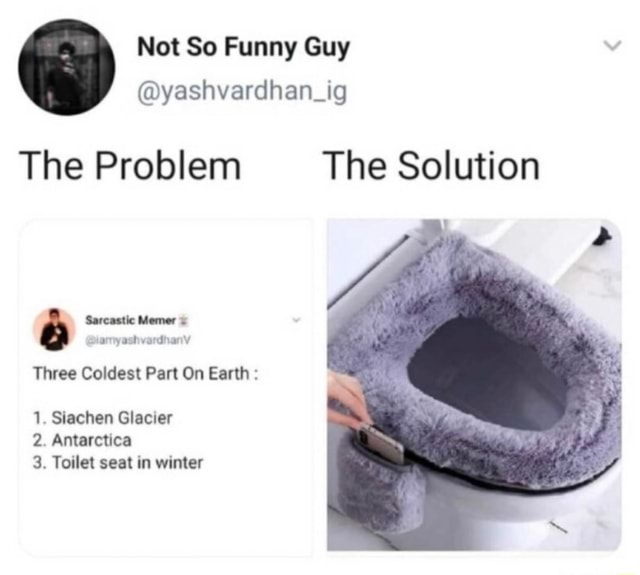 The Problem The Solution Sarcastic Memer ate Three Coldest Part On Earth 1. Siachen Glacier 2. Antarctica 3. Toilet seat in winter