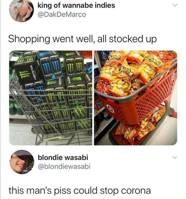 And king of wannabe indies DakDeMarco Shopping went well, all stocked up and blondie wasabi blondiewasabi this man's piss could stop corona memes