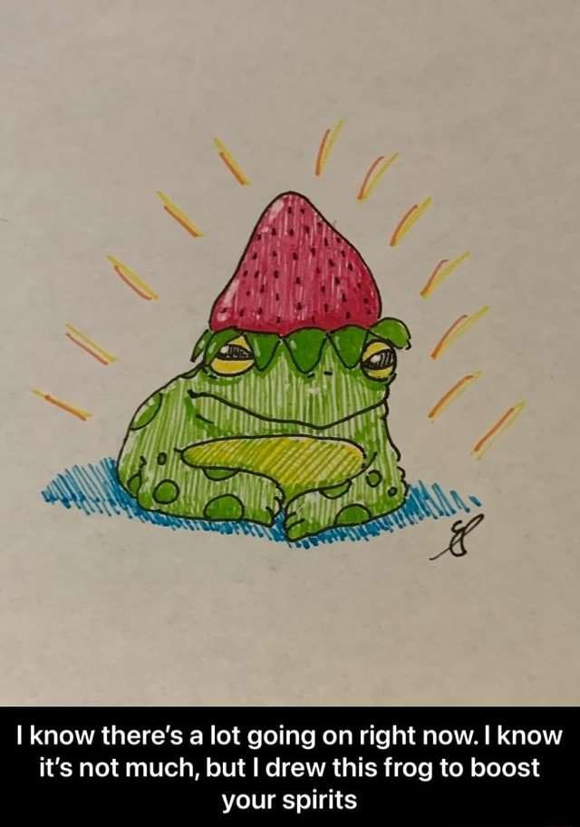 I know there's a lot going on right now. know it's not much, but I drew this frog to boost your spirits I know there's a lot going on right now. I know it's not much, but I drew this frog to boost your spirits meme