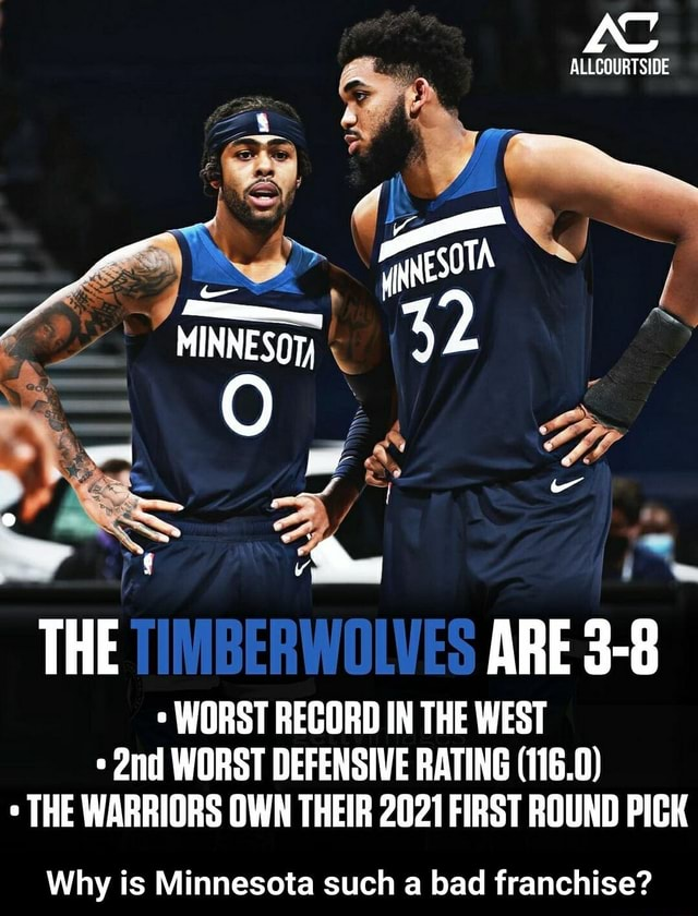 ALLCOURTSIDE MINNESO THE TIMBERWOLVES ARE 3 8 WORST RECORD IN THE WEST WORST DEFENSIVE RATING 116.0 THE WARRIORS OWN THEIR 2021 FIRST ROUND PICK Why is Minnesota such a bad franchise  Why is Minnesota such a bad franchise memes