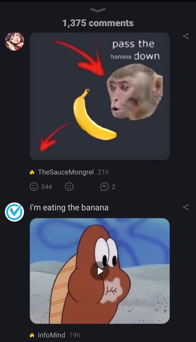 1,375 comments pass the ban an down and TheSauceMongrel a 2 I'm eating the banana InfoMind memes