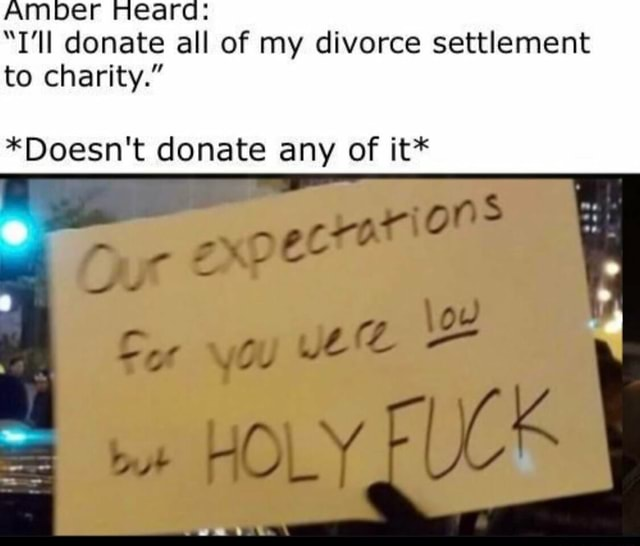 Amber ea T'll donate all of my divorce settlement to charity. *Doesn't donate any of it* al meme