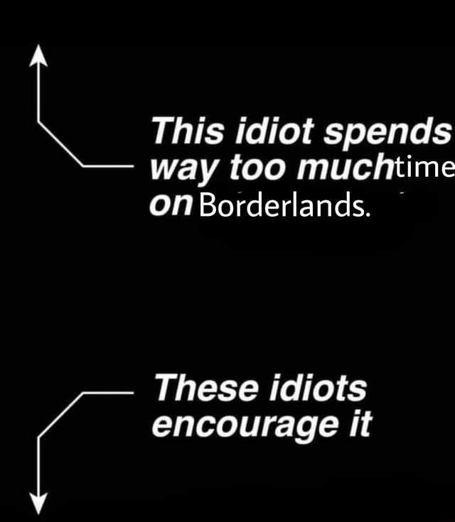 This idiot spends way too muchtime on Borderlands. These idiots encourage it meme