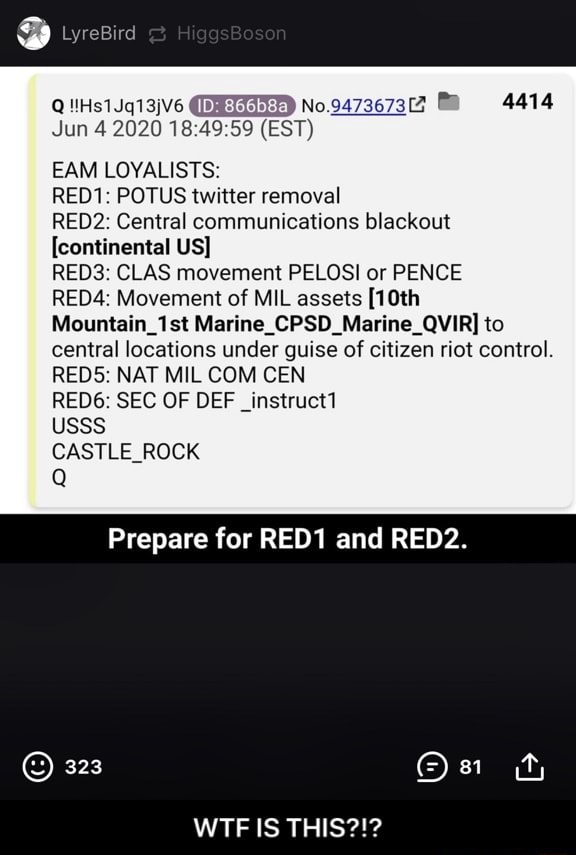 LyreBird Jun 4 EST EAM LOYALISTS RED1 POTUS twitter removal RED2 Central communications blackout continental US REDS CLAS movement PELOSI or PENCE RED4 Movement of MIL assets 10th Mountain 1st Marine to central locations under guise of citizen riot co REDS NAT MIL COM CEN RED6 SEC OF DEF Instruct USSS CASTLE ROCK Prepare for RED1 and RED2. 323 WTF IS THIS WTF IS THIS memes