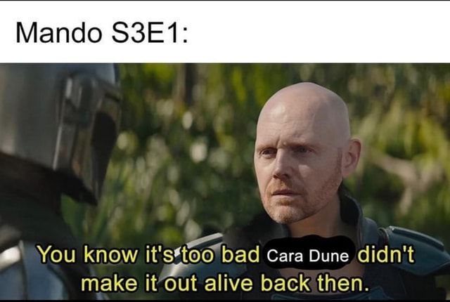 Mando S3E1  You know it bad Cara Dune didn't make it out alive back then memes