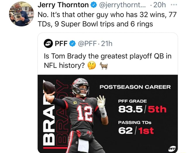 Jerry Thornton  jerrythornt tm No. It's that other guy who has 32 wins, 77 TDs, 9 Super Bowl trips and 6 rings PFF PFF Is Tom Brady the greatest playoff QB in NFL history  POSTSEASON CAREER PFF GRADE 83.5 PASSING TD 62 memes