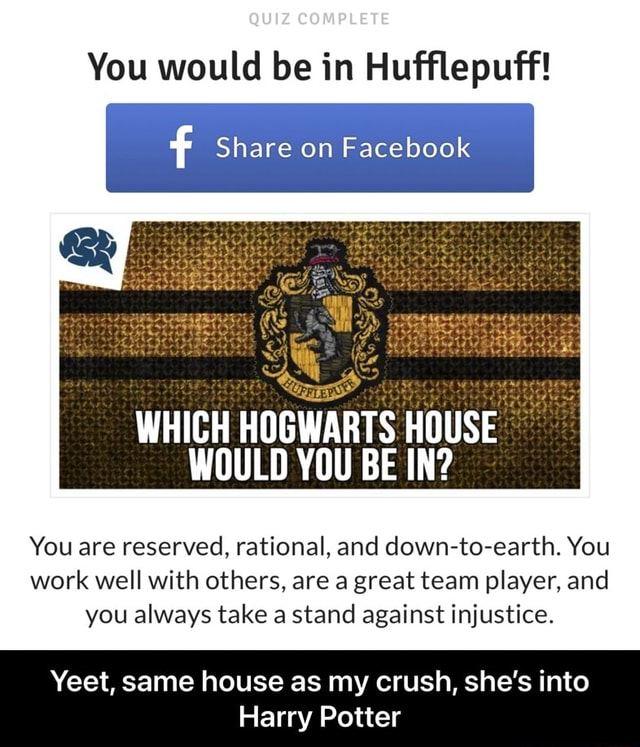 QUIZ COMPLETE You would be in Hufflepuff f Share on Facebook WHICH HOGWARTS HOUSE WOULD YOU BE IN You are reserved, rational, and down to earth. You work well with others, are a great team player, and you always take a stand against injustice. Yeet, same house as my crush, she's into Harry Potter Yeet, same house as my crush, she's into Harry Potter memes