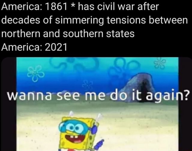 America 1861 * has civil war after decades of simmering tensions between northern and southern states America 2021 wanna see me do it again memes