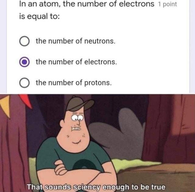 In an atom, the number of electrons 1 point is equal to the number of neutrons. O the number of electrons. O the number of protons. That Enough to be true memes
