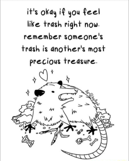 It's okay if you feel like trash right now. remember someone's trash is dnother's most precious treasure memes