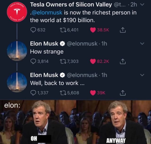Tesla Owners of Silicon Valley t elonmusk is now the richest person in the world at $190 billion. 632 Elon Musk elonmusk How strange 3,814 17,303 Elon Musk elonmusk Well, back to work 1,337 5,608 elon NN ere ANYWAY meme