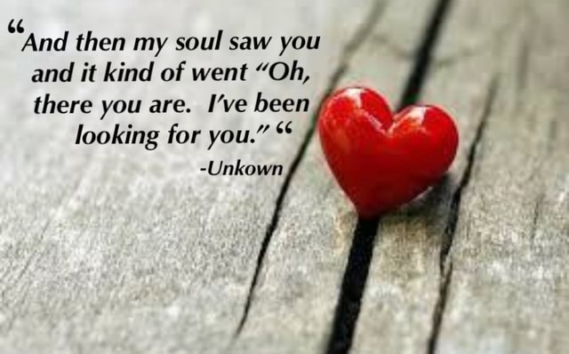 And then my soul saw you and it kind of went Oh, there you are. I've been looking for you. Unkown meme