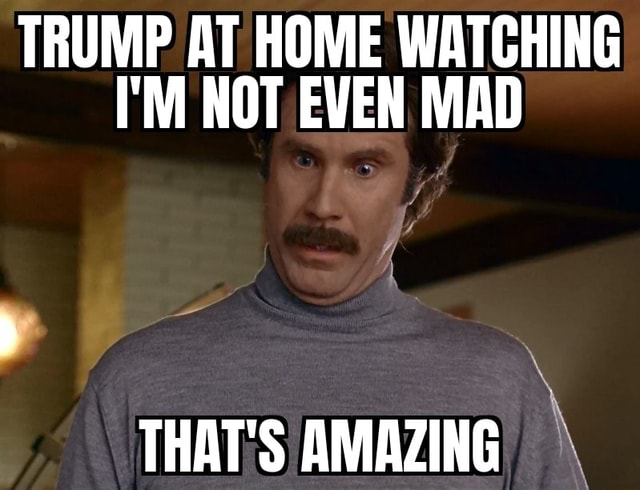 TRUMP AT HOME WATCHING I'M NOT EVEN MAD THAT'S AMAZING meme