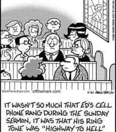 IT WASN'T SO MUCH THAT CELL PHONE RANG DURING SUNDAY SERAON, IT WAS THAT RING JONE WAS HIGHWAY HELL memes