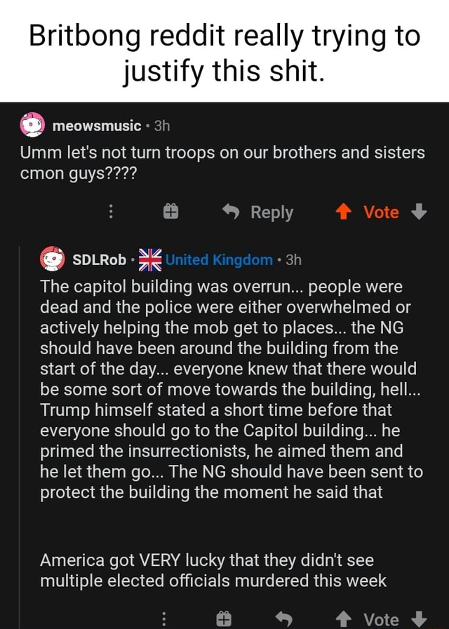 Britbong reddit really trying to justify this shit. Umm let's not turn troops on our brothers and sisters cmon guys Reply United Kingdom The capitol building was overrun people were dead and the police were either overwhelmed or actively helping the mob get to places the NG should have been around the building from the start of the day everyone knew that there would be some sort of move towards the building, hell Trump himself stated a short time before that everyone should go to the Capitol building he primed the insurrectionists, he aimed them and he let them go The NG should have been sent to protect the building the moment he said that America got VERY lucky that they didn't see multiple elected officials murdered this week Vote meme