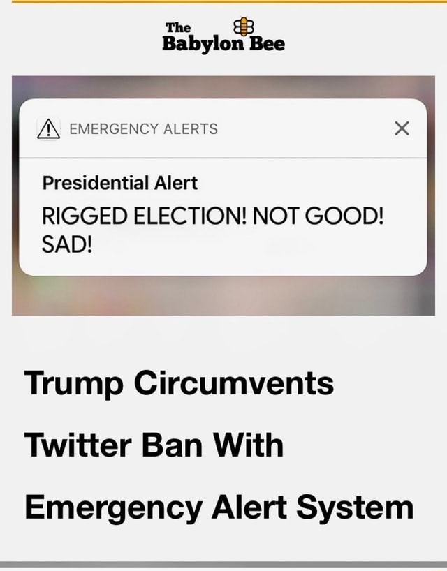 Bee Z, EMERGENCY ALERTS Presidential Alert RIGGED ELECTION NOT GOOD SAD Trump Circumvents Twitter Ban With Emergency Alert System memes