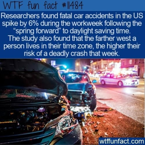 Fun Researchers found fatal car accidents in the US spike by 6% during the workweek following the spring forward to daylight saving time. The study also found that the farther west a person lives in their time zone, the higher their risk of a deadly crash that week. cam memes