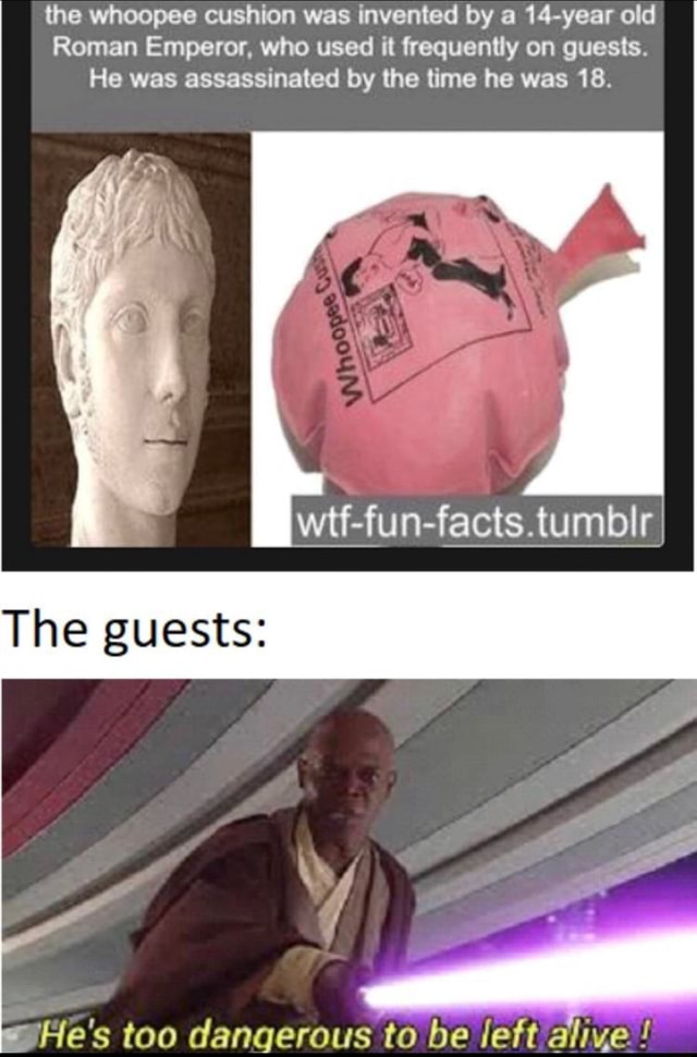 The whoopee cushion was invented by a 14 year old Roman Emperor, who used it frequently on guests. He was assassinated by the time he was 18. wtf fun facts.tumbIr The guests He's too dangerous to be eft aliye memes