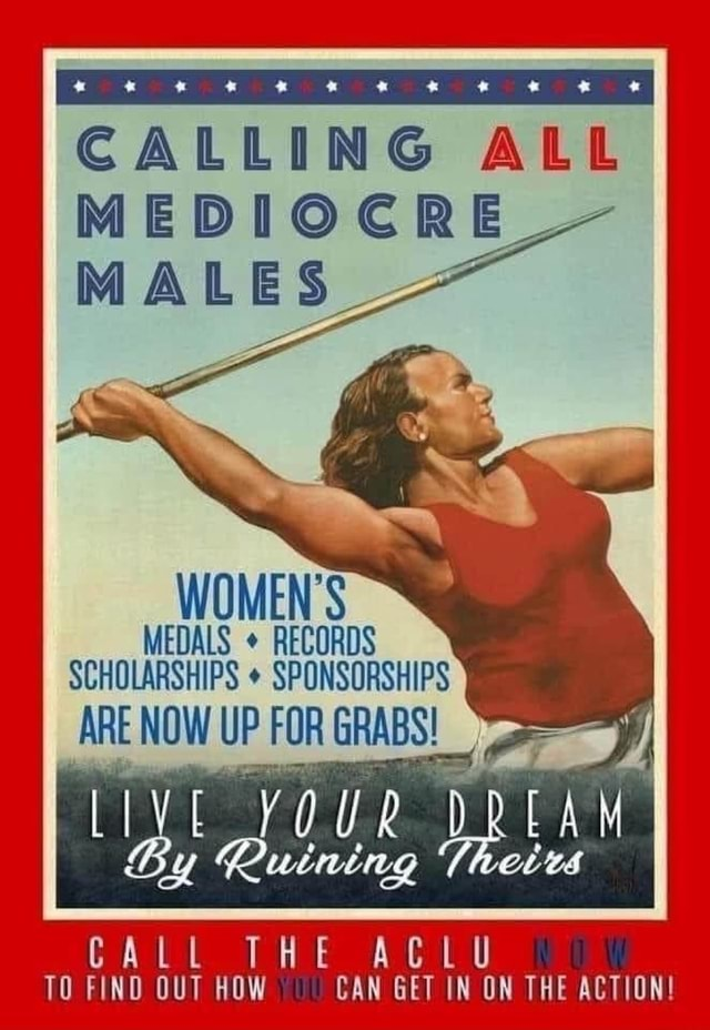 CALLING ALL MEDIOCRE MALES MEN'S MEDALS RECORDS SCHOLARSHIPS SPONSORSHIPS ARE NOW UP FOR  By   0 UR EA CALL THE ACLU TO FIND OUT HOW CAN GET IN ON THE ACTION memes