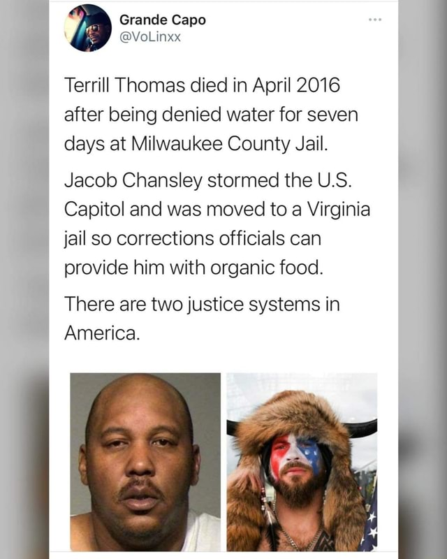 Grande Capo  VoLinxx Terrill Thomas died in April 2016 after being denied water for seven days at Milwaukee County Jail. Jacob Chansley stormed the U.S. Capitol and was moved to a Virginia jail so corrections officials can provide him with organic food. There are two justice systems in America memes