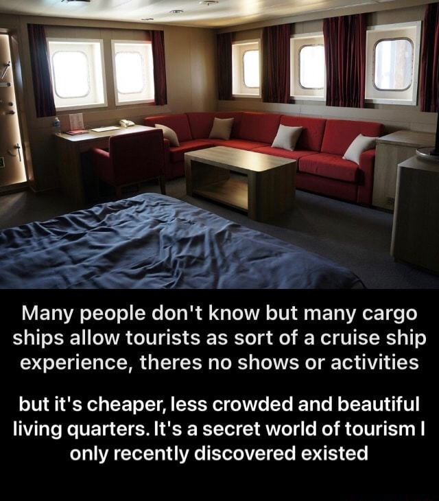 Many people do not know but many cargo ships allow tourists as sort of a cruise ship experience, theres no shows or activities but it's cheaper, less crowded and beautiful living quarters. It's a secret world of tourism I only recently discovered existed  but it's cheaper, less crowded and beautiful living quarters. It's a secret world of tourism I only recently discovered existed meme
