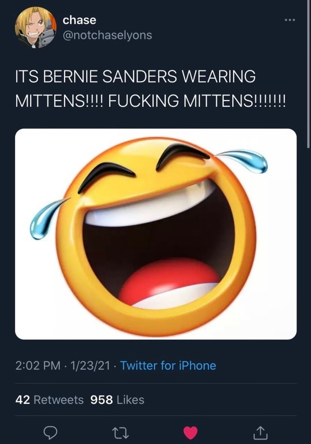 Chase notchaselyons ITS BERNIE SANDERS WEARING MITTENS FUCKING MITTENSH PM Twitter for iPhone 42 958 Likes memes
