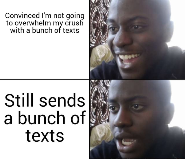 Convinced I'm not going to overwhelm my crush with a bunch of texts Still sends a bunch of texts meme