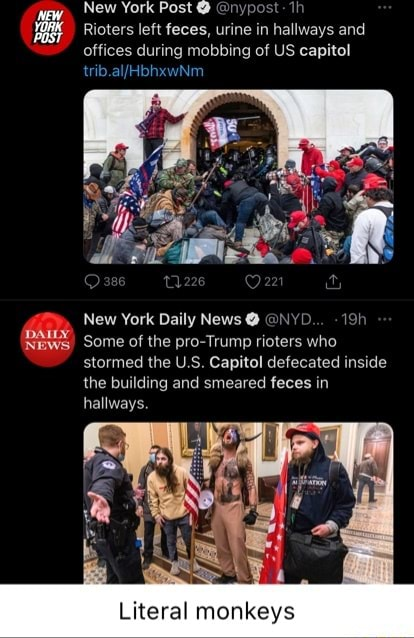 New York Post nypost if Rioters left feces, urine in hallways and offices during mobbing of US capitol New York Daily News NYL 191 News Some of the pro Trump rioters who stormed the US Capitol defecated inside the building and smeared feces in hallways. Literal monkeys meme